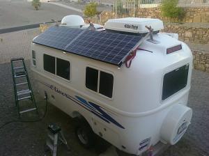 Solar panel on a caravan